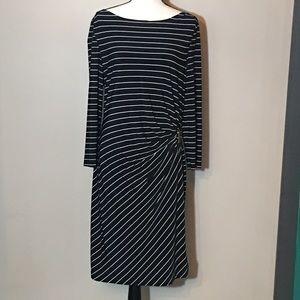 Tahari Navy Blue White Striped Dress Size 14